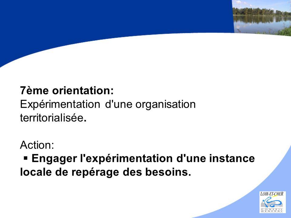 7ème orientation: Expérimentation d une organisation territorialisée