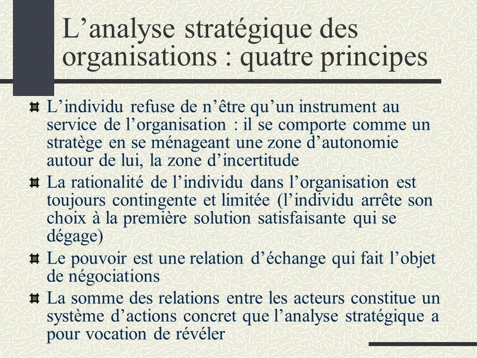 L'analyse stratégique des organisations : quatre principes
