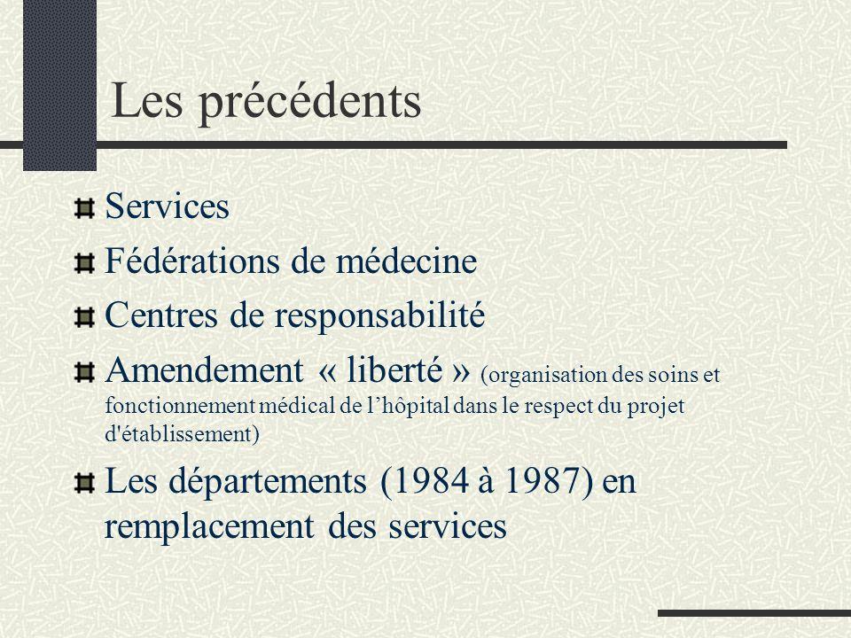 Les précédents Services Fédérations de médecine