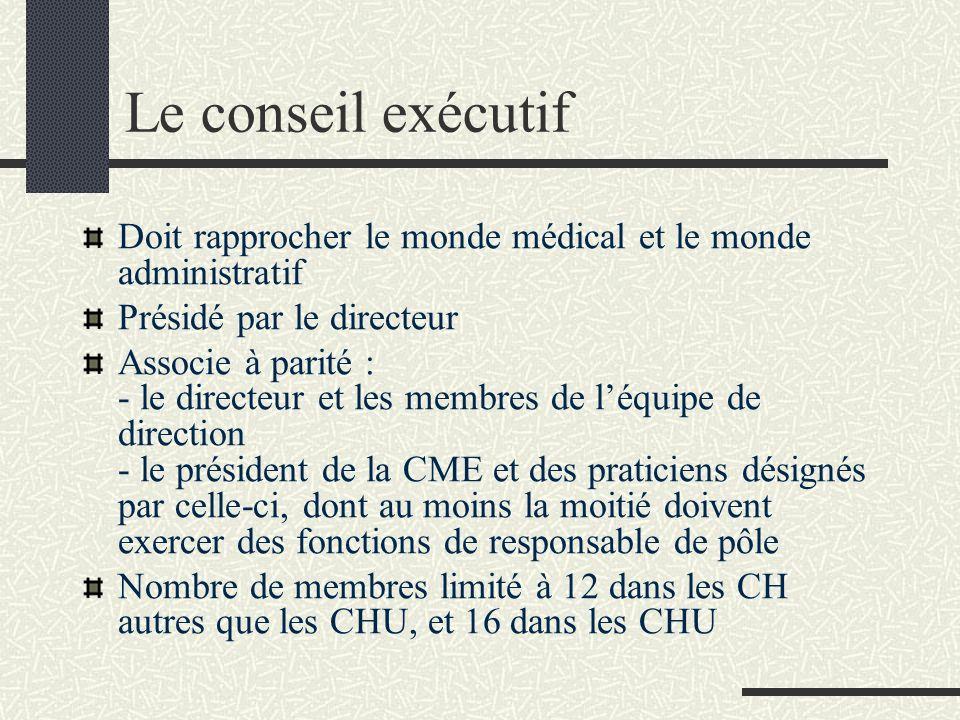 Le conseil exécutif Doit rapprocher le monde médical et le monde administratif. Présidé par le directeur.