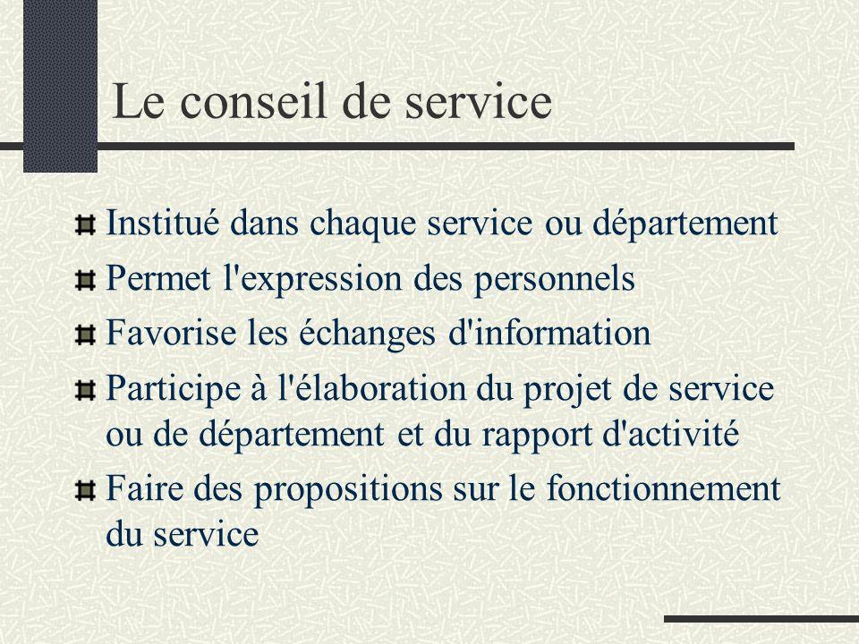 Le conseil de service Institué dans chaque service ou département