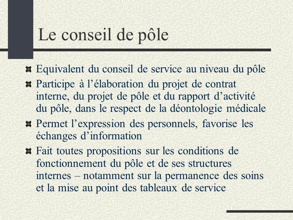 Le conseil de pôle Equivalent du conseil de service au niveau du pôle