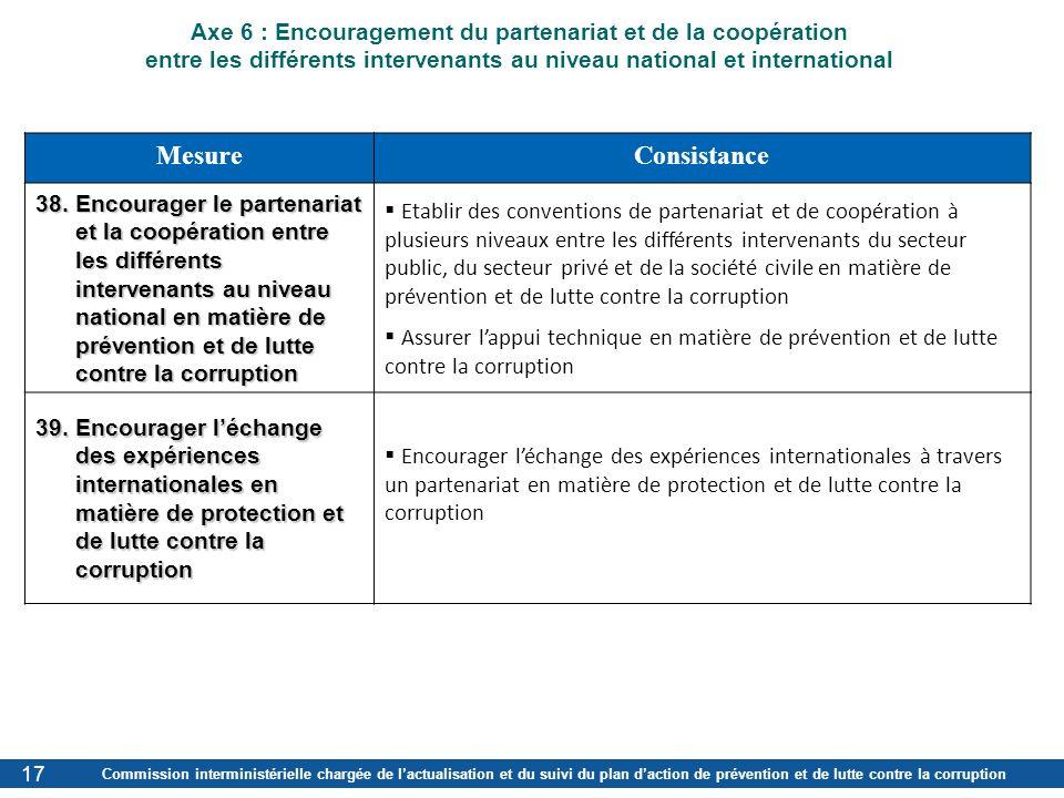 Axe 6 : Encouragement du partenariat et de la coopération