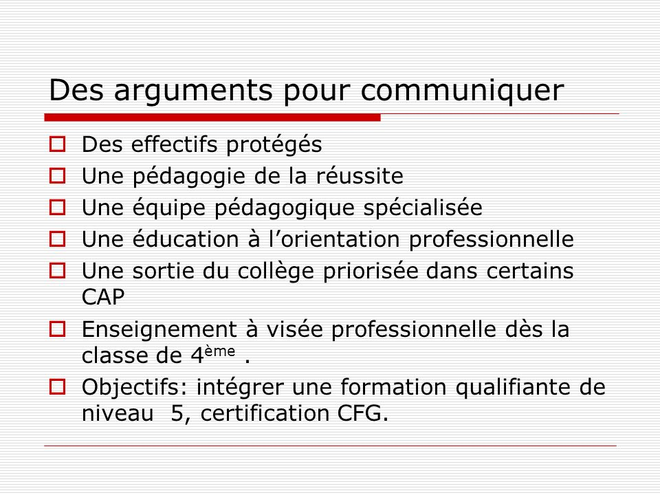 Des arguments pour communiquer
