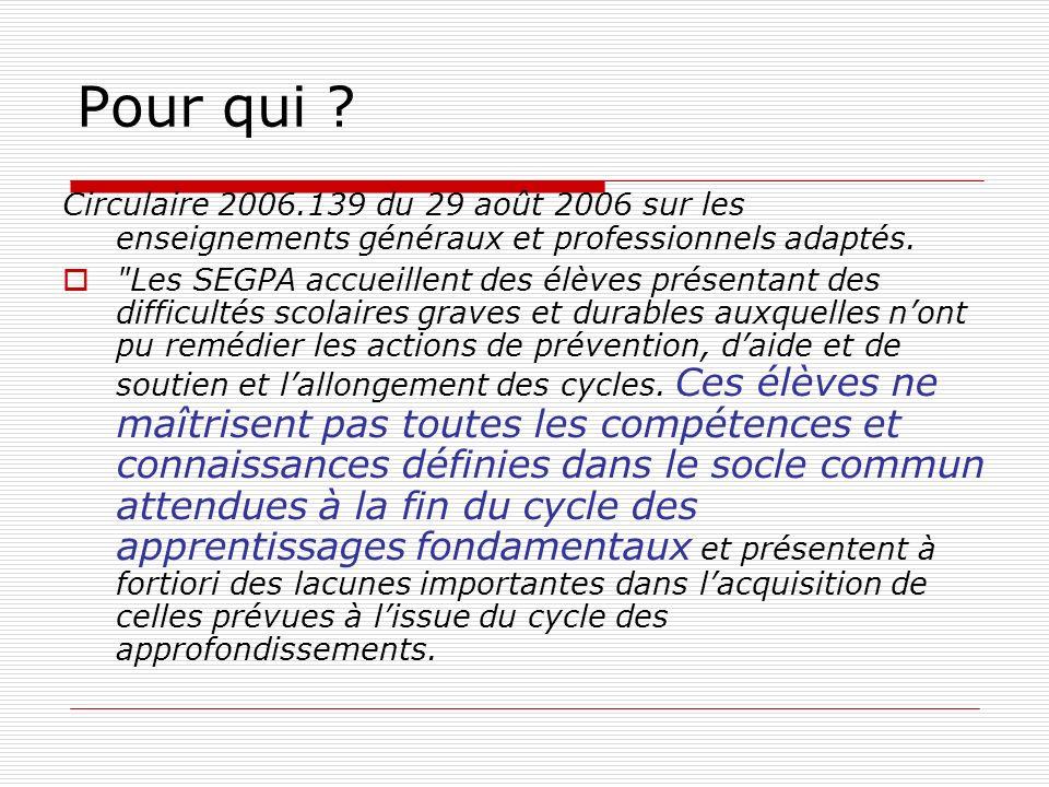 Pour qui Circulaire 2006.139 du 29 août 2006 sur les enseignements généraux et professionnels adaptés.