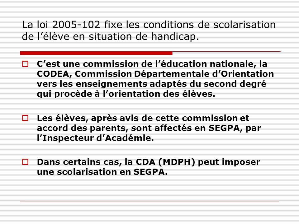 La loi 2005-102 fixe les conditions de scolarisation de l'élève en situation de handicap.