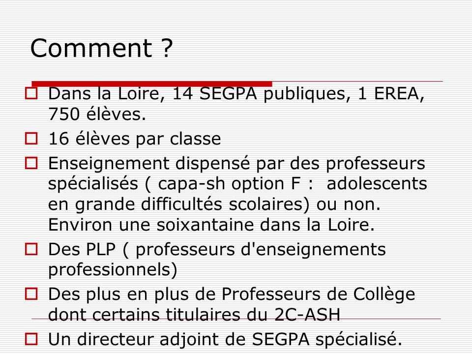 Comment Dans la Loire, 14 SEGPA publiques, 1 EREA, 750 élèves.