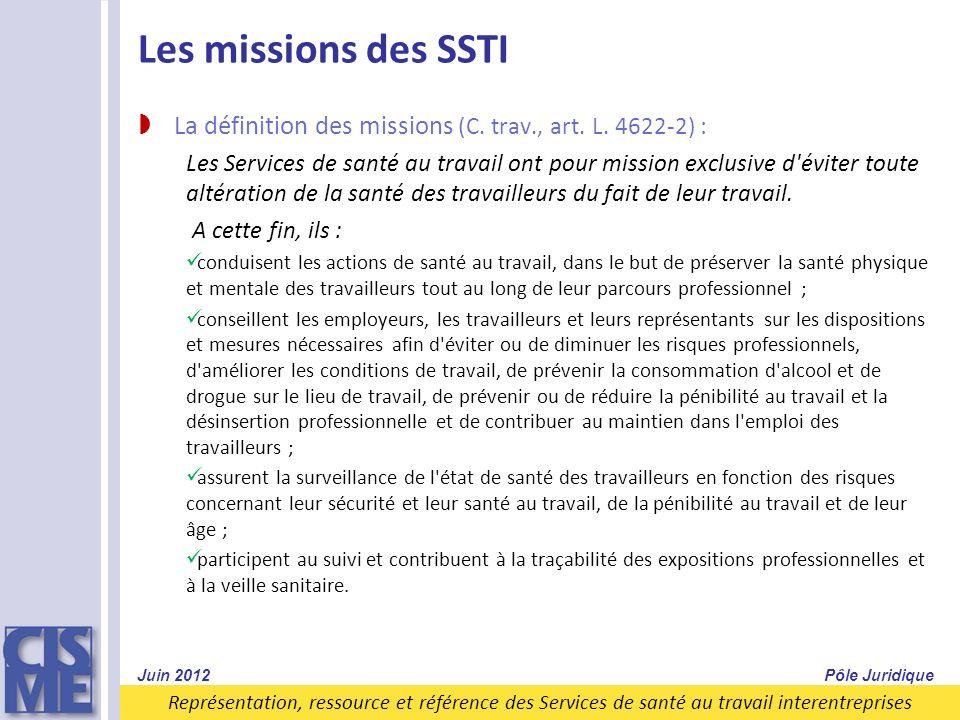 Les missions des SSTI La définition des missions (C. trav., art. L. 4622-2) :