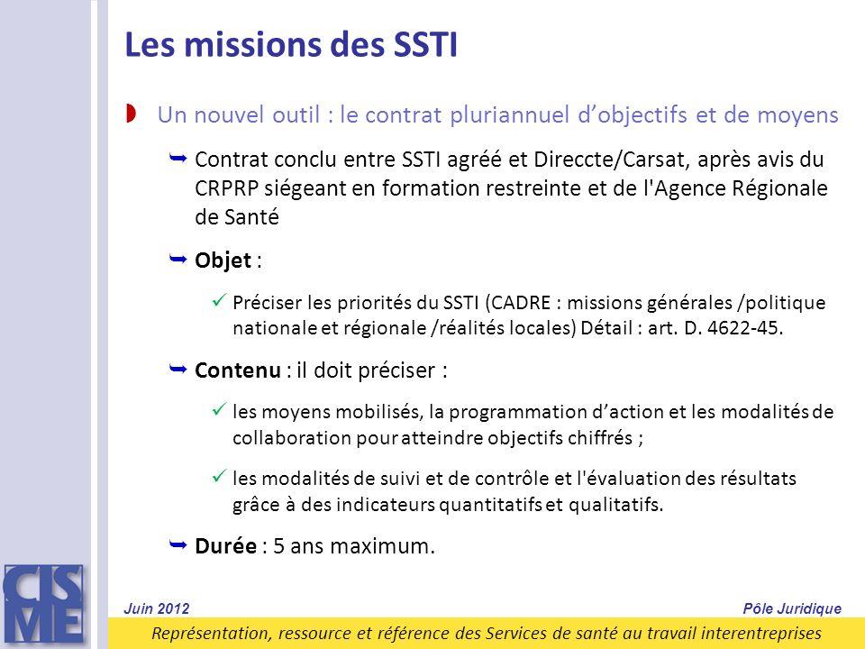 Les missions des SSTI Un nouvel outil : le contrat pluriannuel d'objectifs et de moyens.
