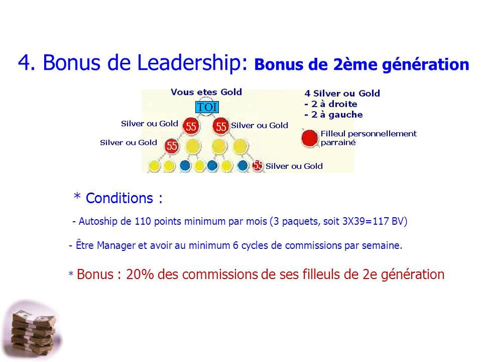 4. Bonus de Leadership: Bonus de 2ème génération
