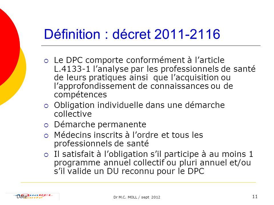 Définition : décret 2011-2116
