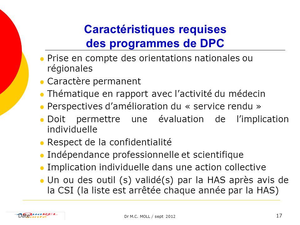 Caractéristiques requises des programmes de DPC
