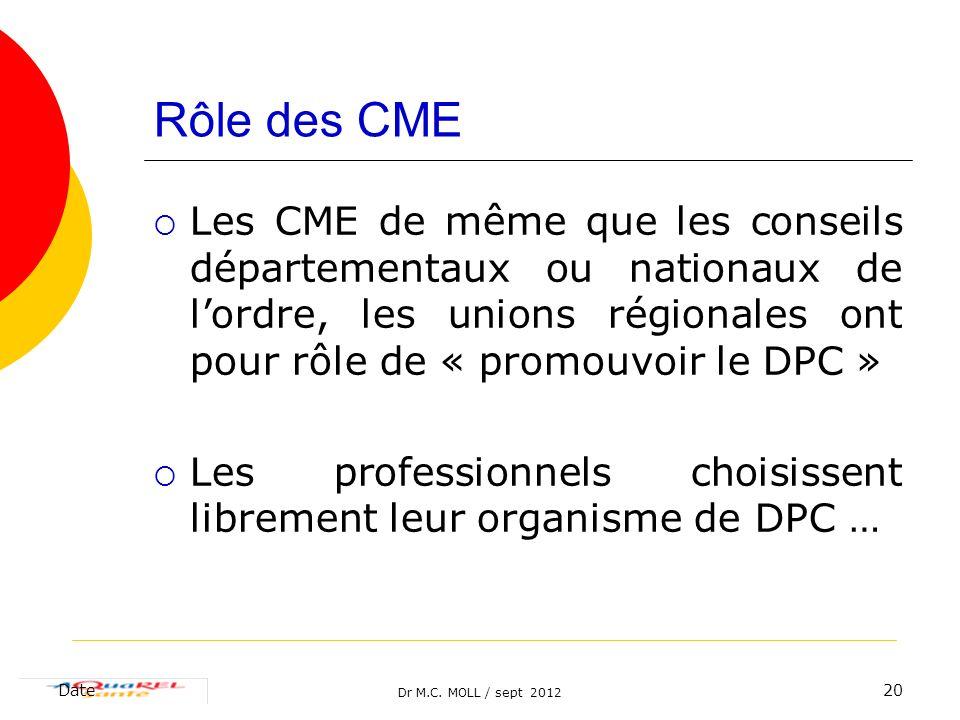 Rôle des CME Les CME de même que les conseils départementaux ou nationaux de l'ordre, les unions régionales ont pour rôle de « promouvoir le DPC »
