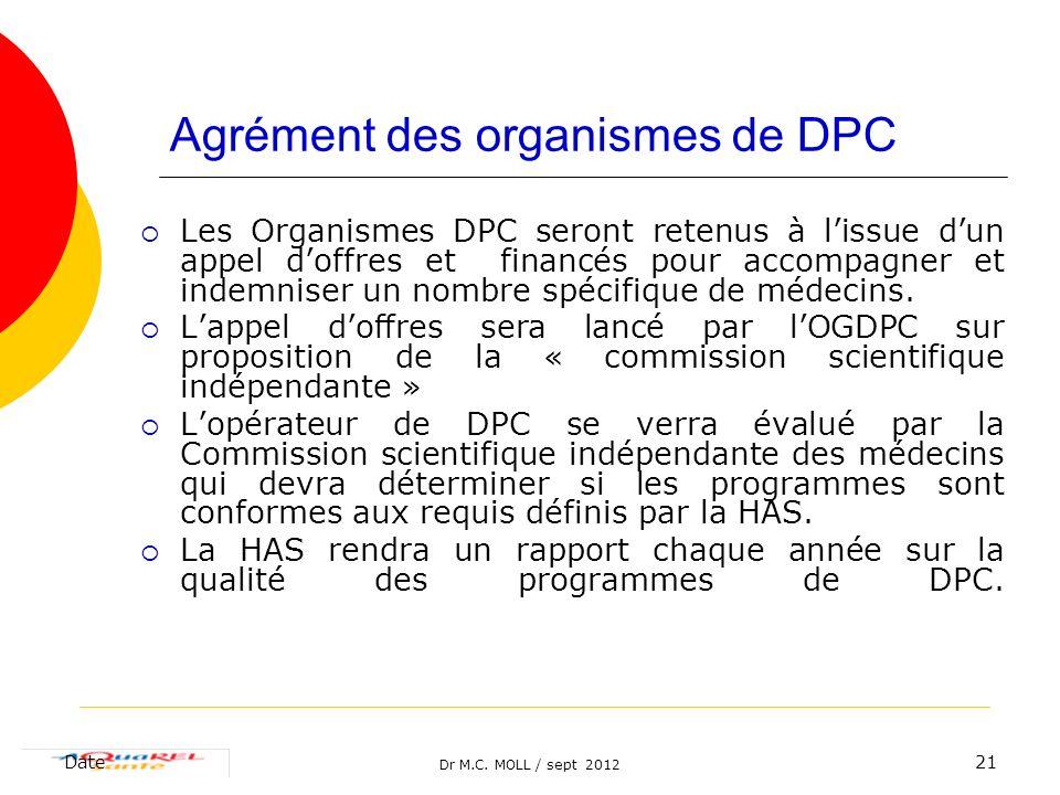 Agrément des organismes de DPC