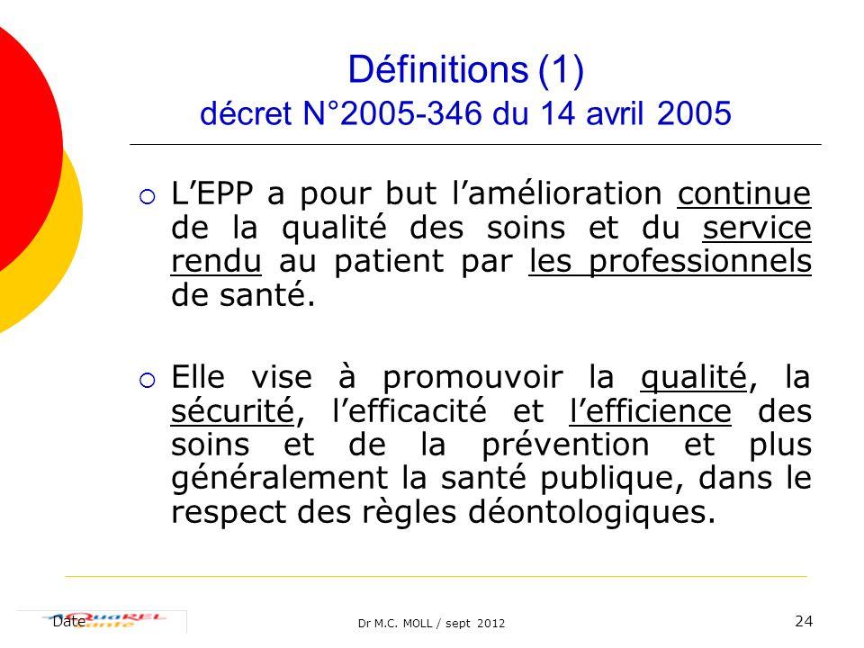 Définitions (1) décret N°2005-346 du 14 avril 2005