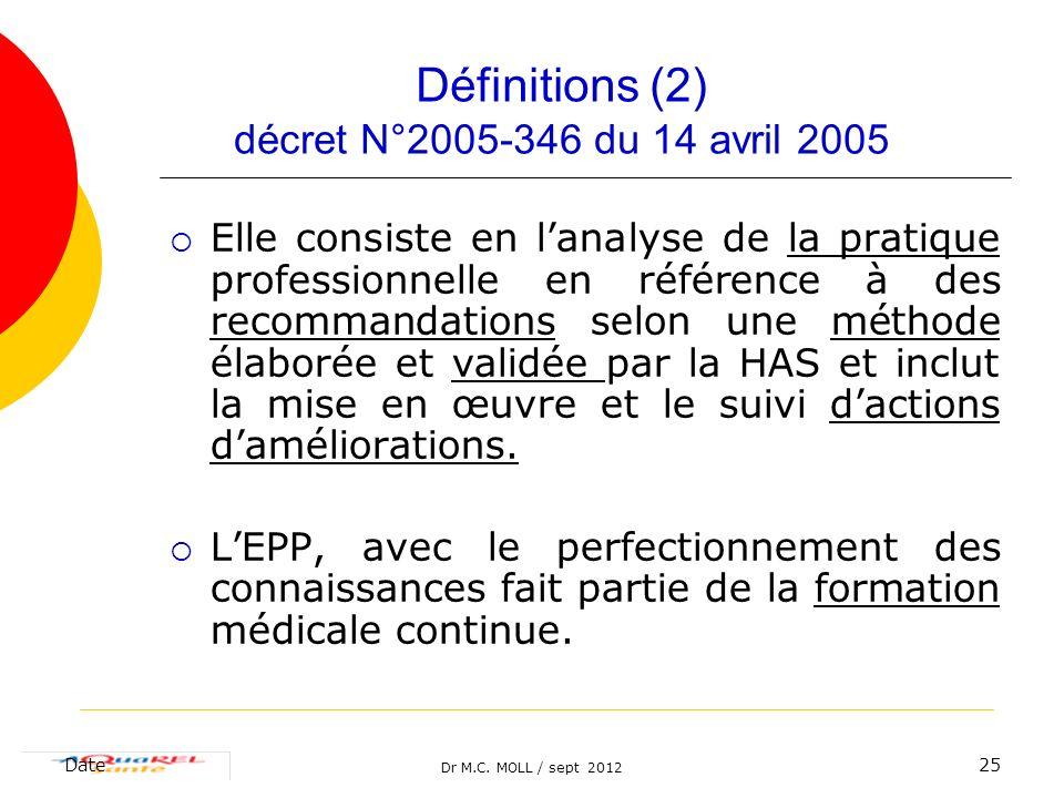 Définitions (2) décret N°2005-346 du 14 avril 2005