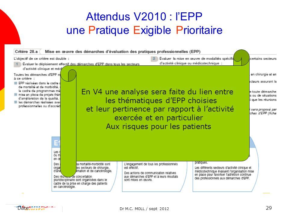 Attendus V2010 : l'EPP une Pratique Exigible Prioritaire