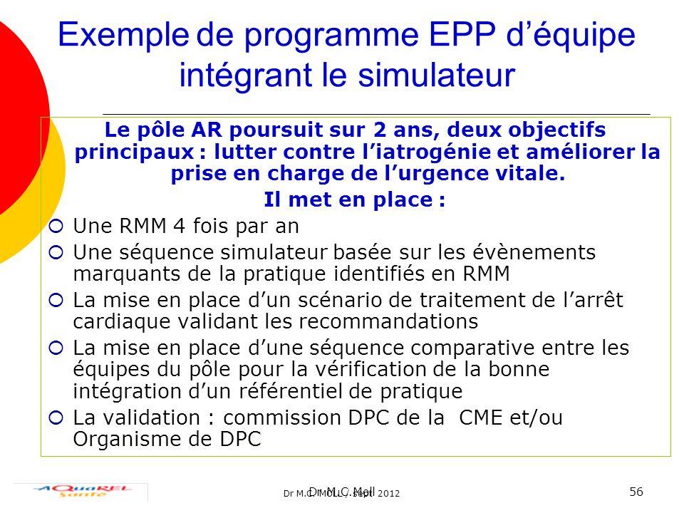 Exemple de programme EPP d'équipe intégrant le simulateur
