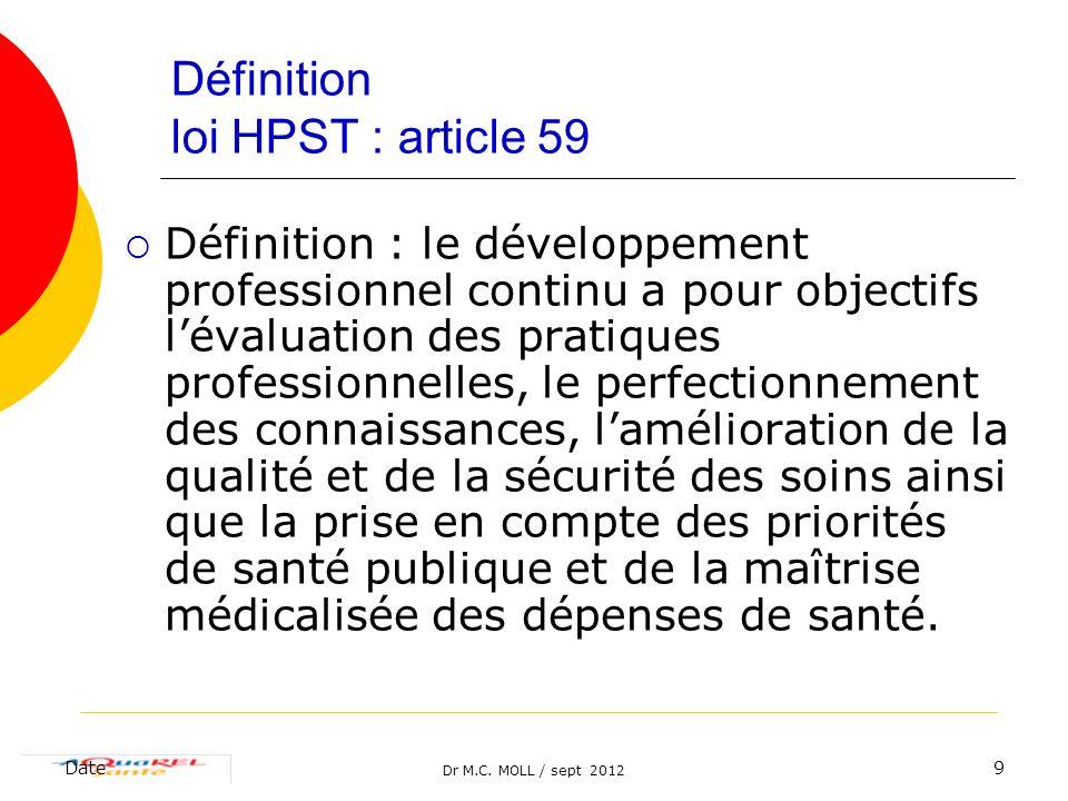 Définition loi HPST : article 59