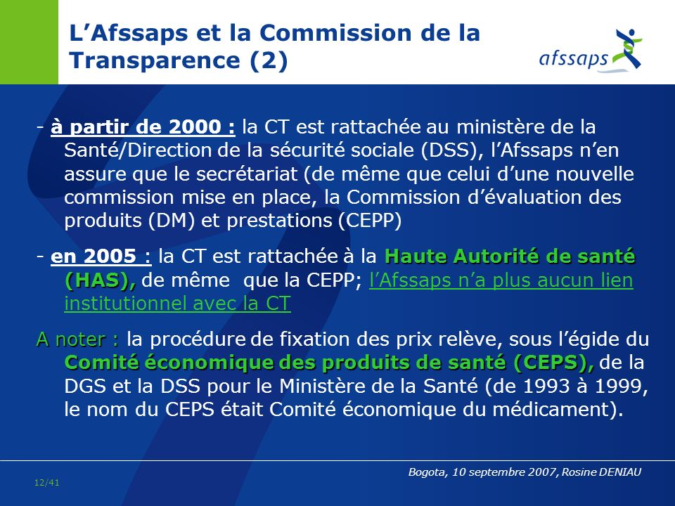 L'Afssaps et la Commission de la Transparence (2)