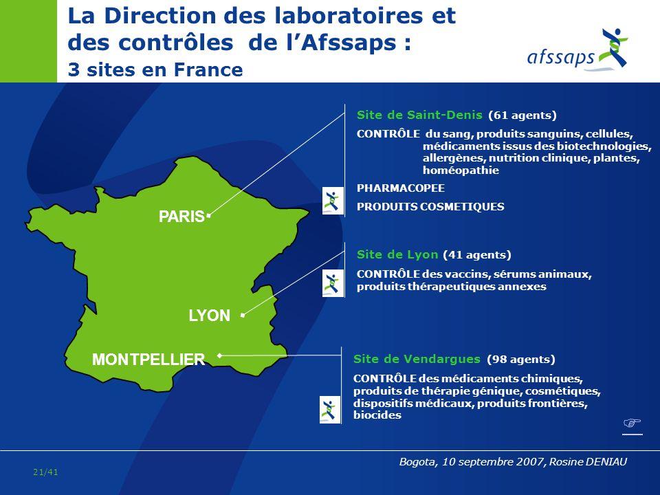 La Direction des laboratoires et des contrôles de l'Afssaps : 3 sites en France