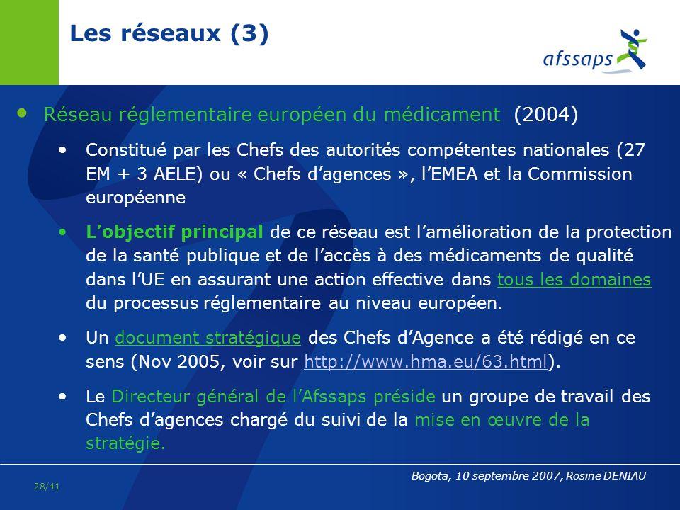 Les réseaux (3) Réseau réglementaire européen du médicament (2004)