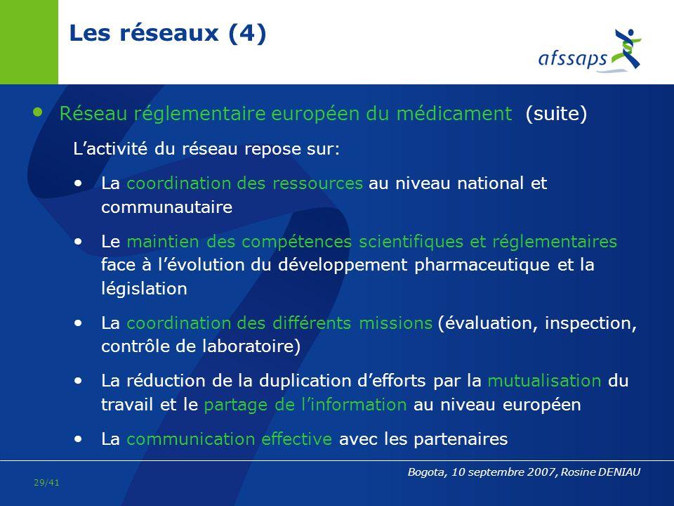 Les réseaux (4) Réseau réglementaire européen du médicament (suite)