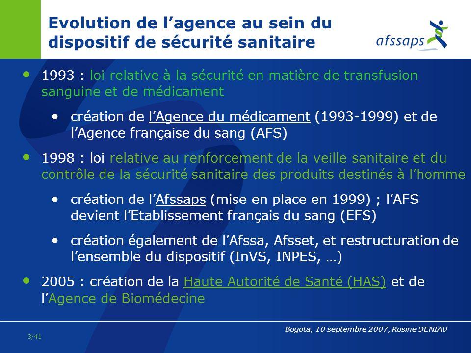 Evolution de l'agence au sein du dispositif de sécurité sanitaire