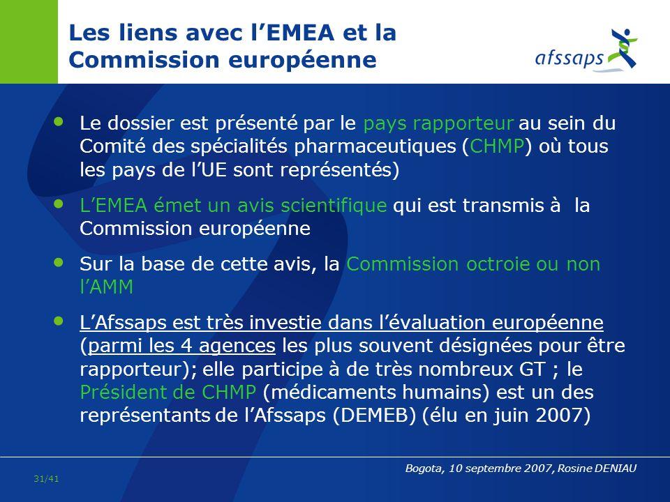 Les liens avec l'EMEA et la Commission européenne