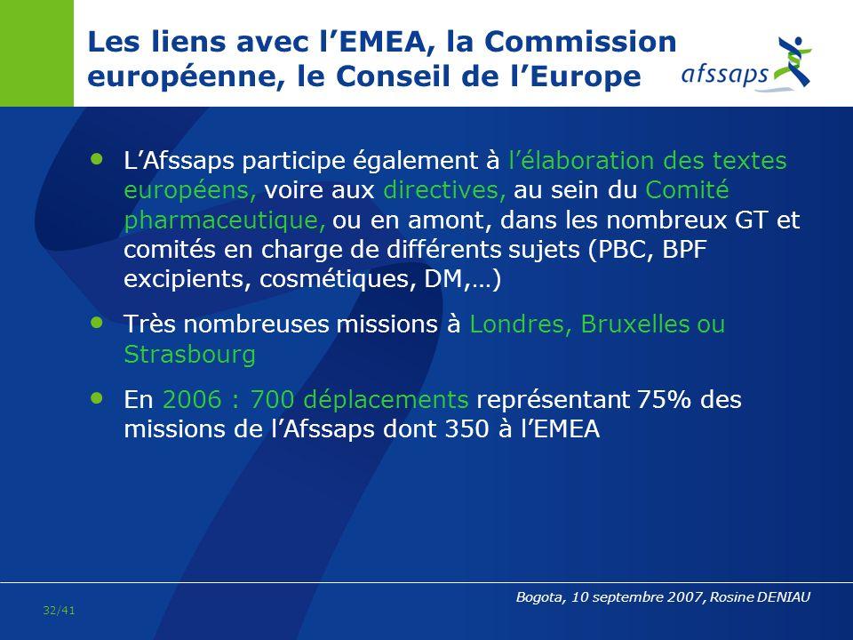 Les liens avec l'EMEA, la Commission européenne, le Conseil de l'Europe