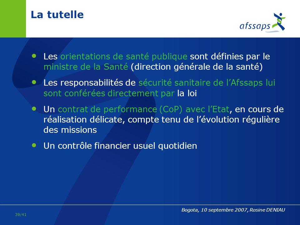 La tutelle Les orientations de santé publique sont définies par le ministre de la Santé (direction générale de la santé)
