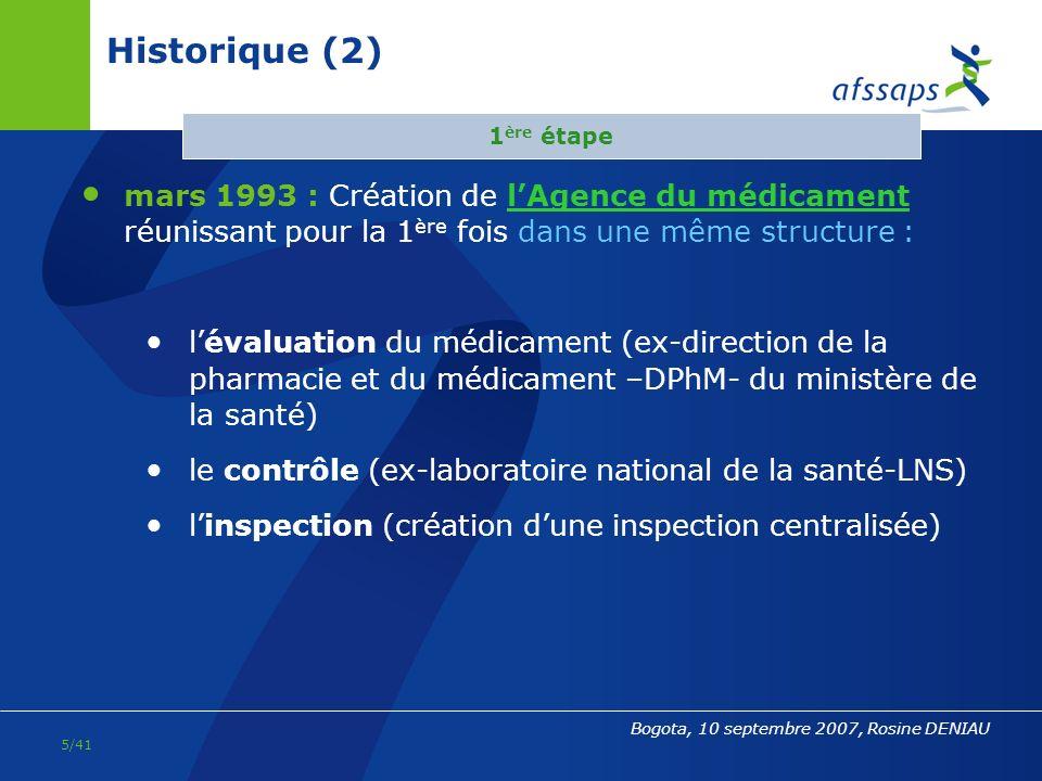 31/03/2017 Historique (2) 1ère étape. mars 1993 : Création de l'Agence du médicament réunissant pour la 1ère fois dans une même structure :