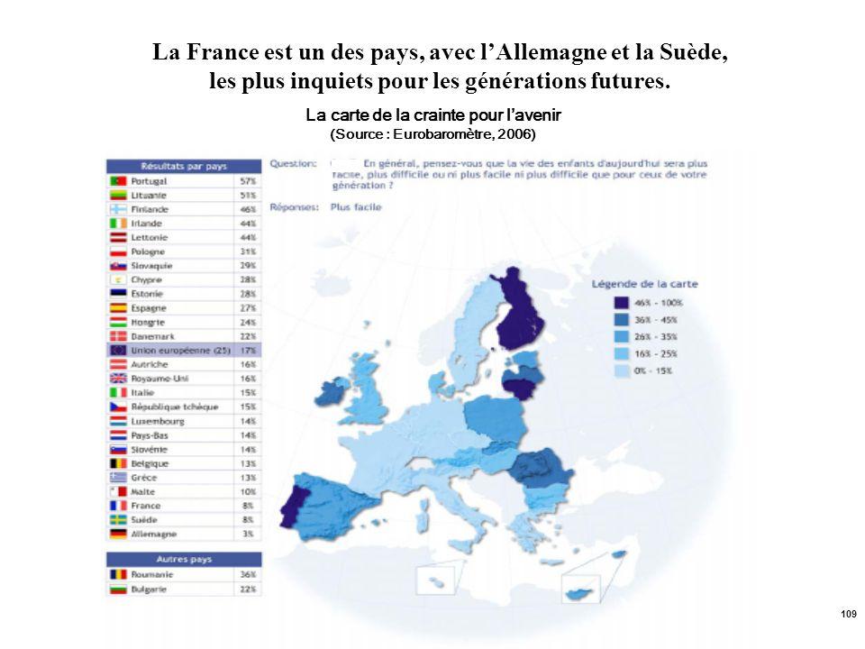 La carte de la crainte pour l'avenir (Source : Eurobaromètre, 2006)