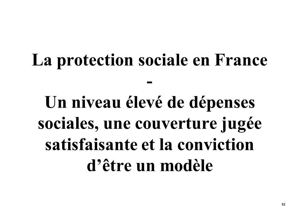 La protection sociale en France - Un niveau élevé de dépenses sociales, une couverture jugée satisfaisante et la conviction d'être un modèle