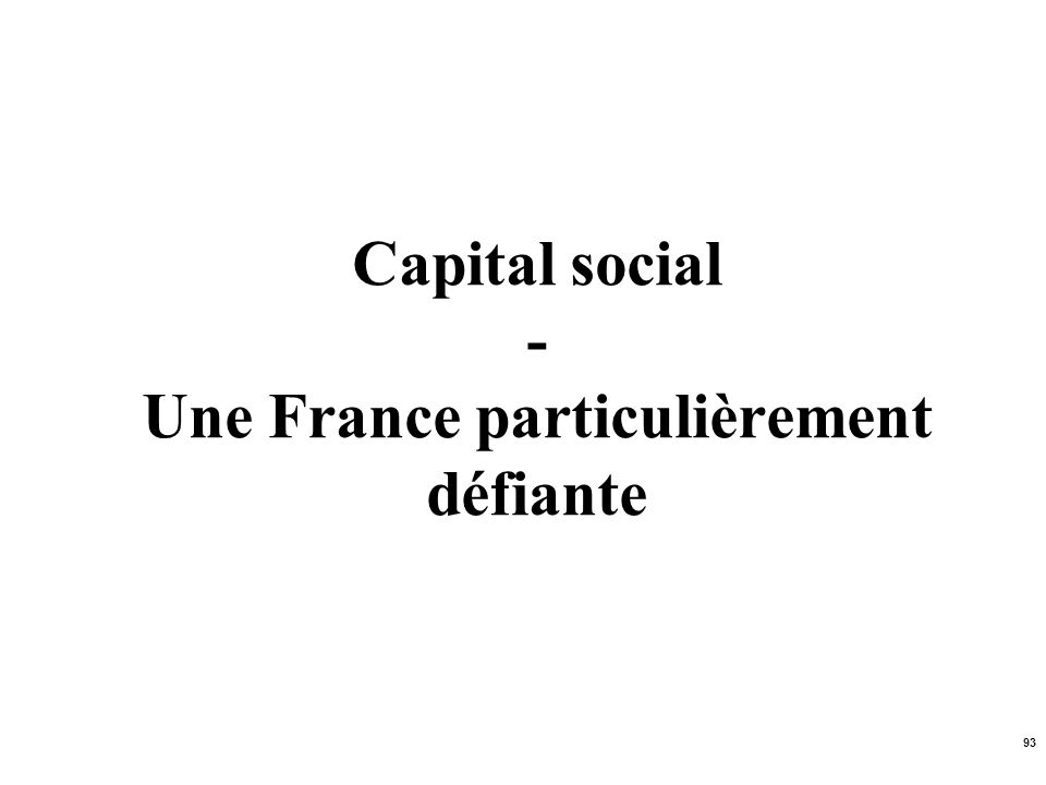 Capital social - Une France particulièrement défiante