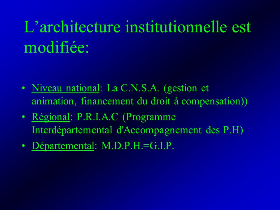 L'architecture institutionnelle est modifiée:
