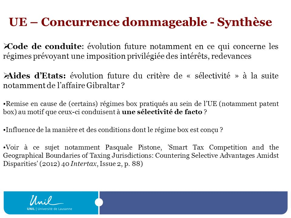 UE – Concurrence dommageable - Synthèse