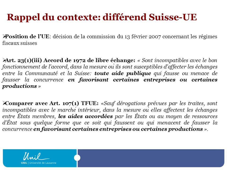Rappel du contexte: différend Suisse-UE
