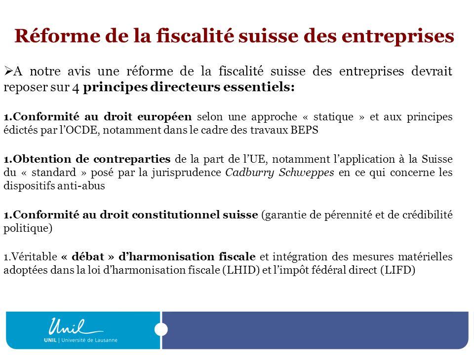 Réforme de la fiscalité suisse des entreprises