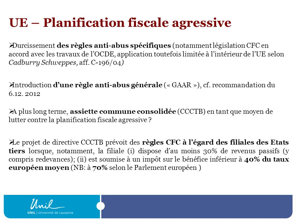 UE – Planification fiscale agressive