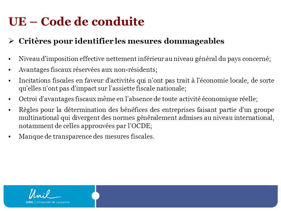 UE – Code de conduite Critères pour identifier les mesures dommageables.