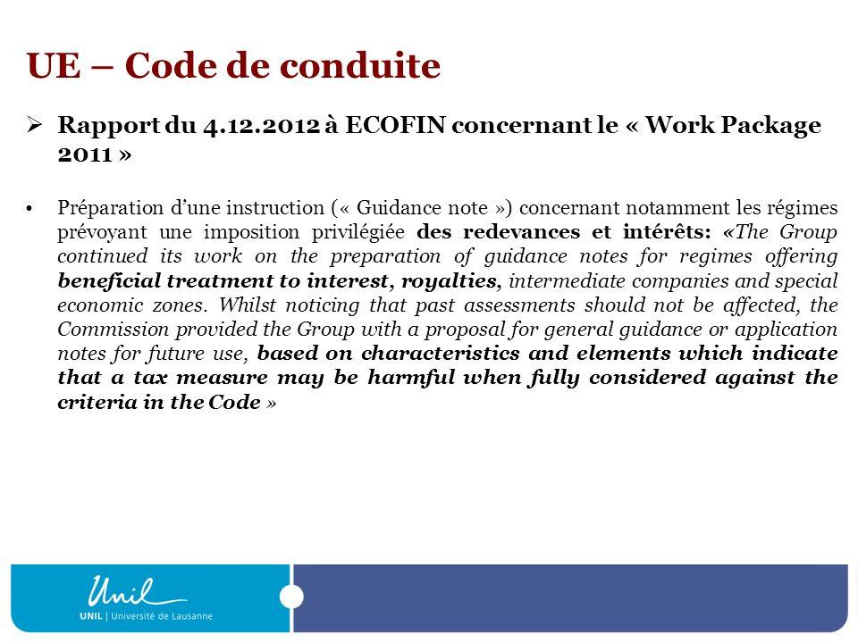 UE – Code de conduite Rapport du 4.12.2012 à ECOFIN concernant le « Work Package 2011 »