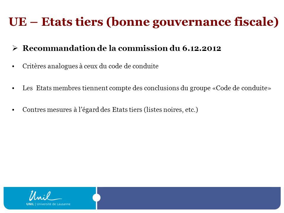 UE – Etats tiers (bonne gouvernance fiscale)
