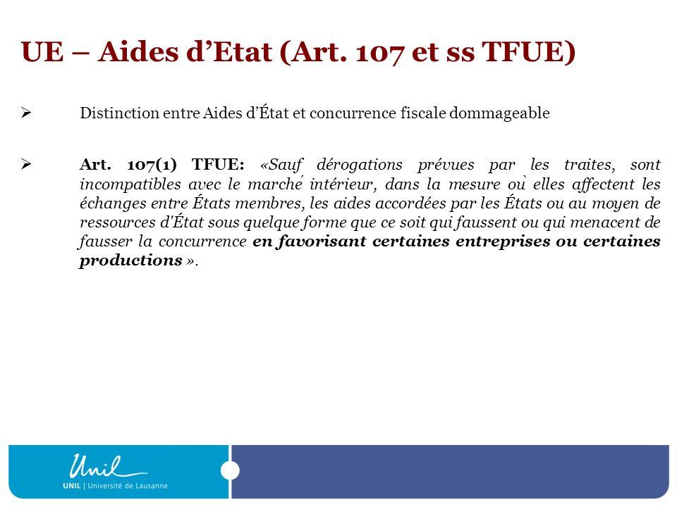 UE – Aides d'Etat (Art. 107 et ss TFUE)