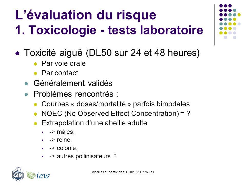 L'évaluation du risque 1. Toxicologie - tests laboratoire