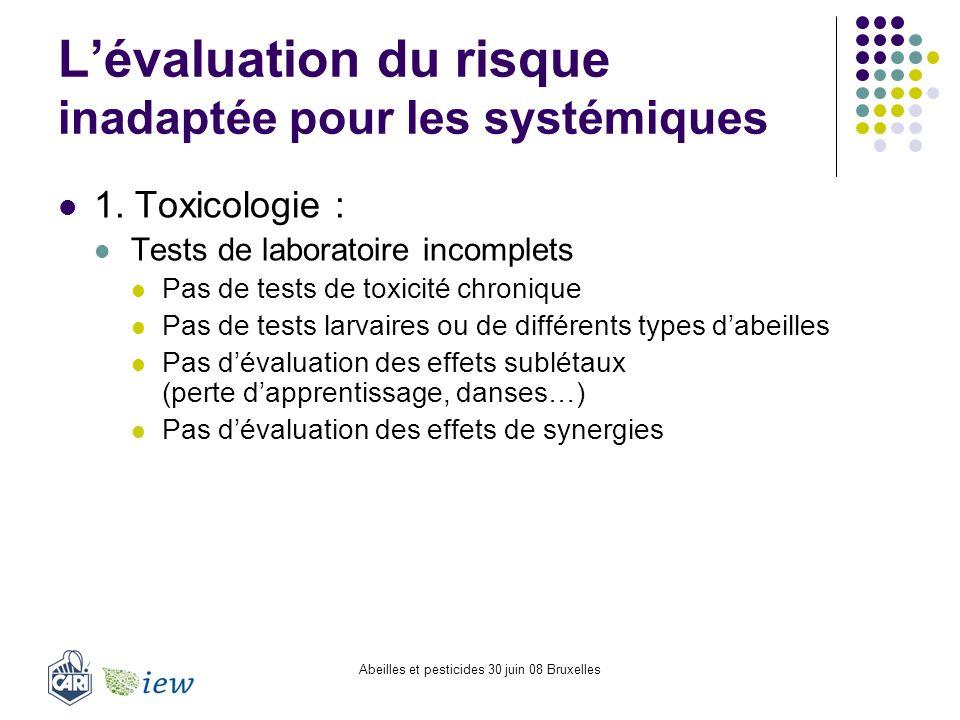 L'évaluation du risque inadaptée pour les systémiques