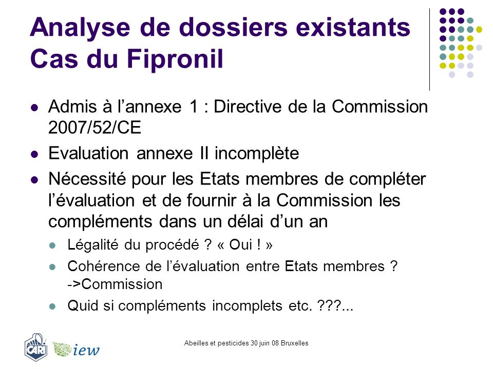 Analyse de dossiers existants Cas du Fipronil