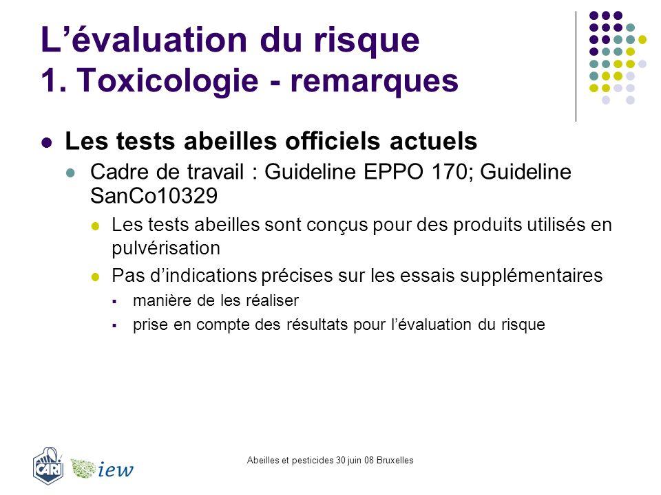 L'évaluation du risque 1. Toxicologie - remarques