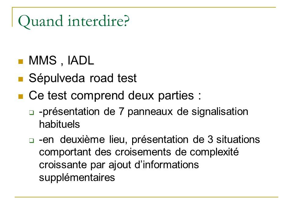 Quand interdire MMS , IADL Sépulveda road test
