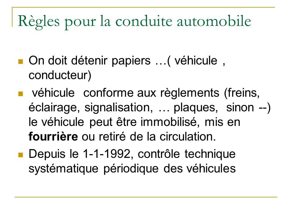 Règles pour la conduite automobile